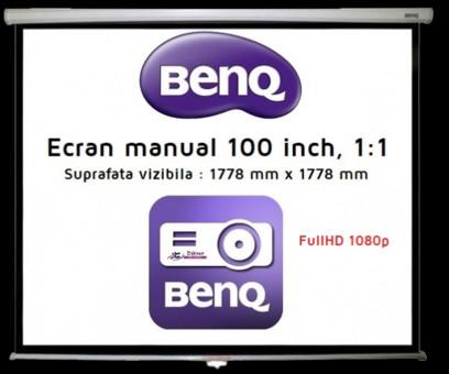 Ecran proiectie BenQ Ecran proiectie manual - perete/tavan  177.8 x 177.8 cm