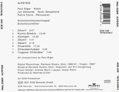 VINIL ECM Records Paul Giger: Alpstein