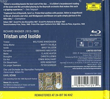 CD Deutsche Grammophon (DG) Wagner: Tristan Und Isolde ( Bohm - Nilsson, Windgassen, Ludwig, Talvela ) CD + BluRay Audio