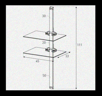 Polita pentru perete  Sonorous - PL 2620-B-BLK