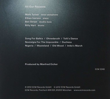 CD ECM Records Billy Hart, Ethan Iverson Quartet: All Our Reasons
