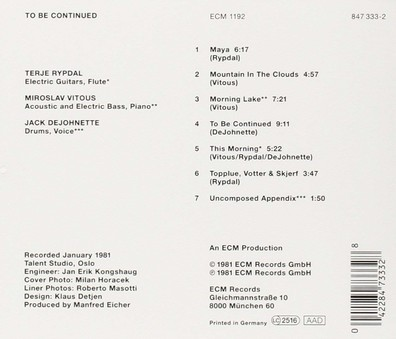 CD ECM Records Terje Rypdal:  To Be Continued