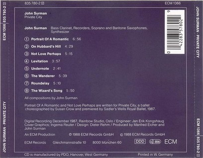 CD ECM Records John Surman: Private City