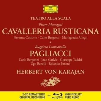 CD Deutsche Grammophon (DG) Cavalleria Rusticana / Pagliacci ( Karajan, Bergonzi, Cossotto, Carlyle ) CD + BluRay Audio
