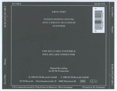 CD ECM Records Arvo Part: Passio