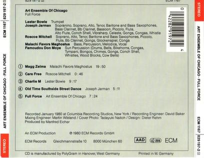 CD ECM Records Art Ensemble Of Chicago: Full Force