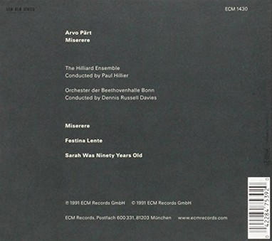 CD ECM Records Arvo Part: Miserere