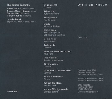 CD ECM Records Jan Garbarek & Hilliard Ensemble: Officium Novum