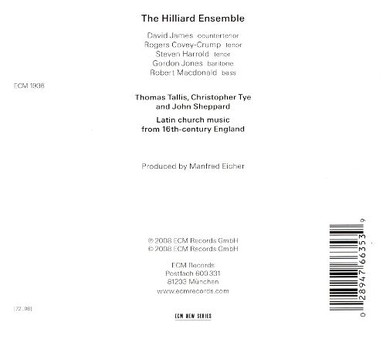 CD ECM Records Hilliard Ensemble - Tallis, Tye, Sheppard: Audivi Vocem