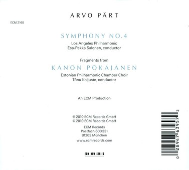 CD ECM Records Arvo Part: Symphony No. 4
