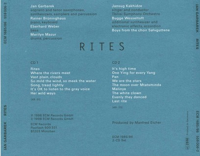 CD ECM Records Jan Garbarek: Rites