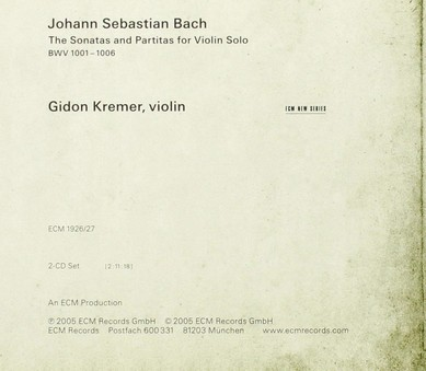 CD ECM Records Gidon Kremer - Bach: Sonatas and Partitas For Violin Solo