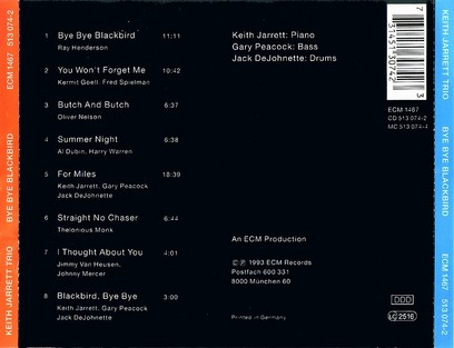 CD ECM Records Keith Jarrett Trio: Bye Bye Blackbird