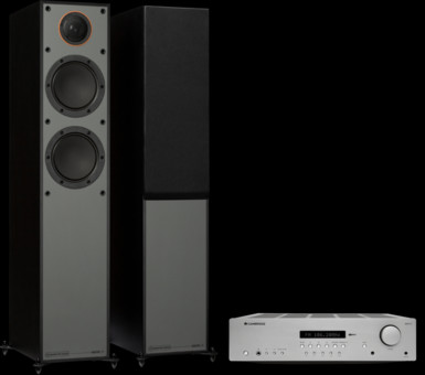 Pachet PROMO Monitor Audio Monitor 200 Black Cone + Cambridge Audio AXR85