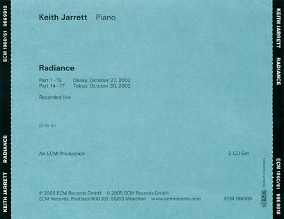 CD ECM Records Keith Jarrett: Radiance