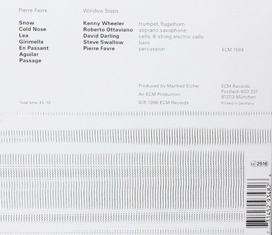 CD ECM Records Pierre Favre: Window Steps