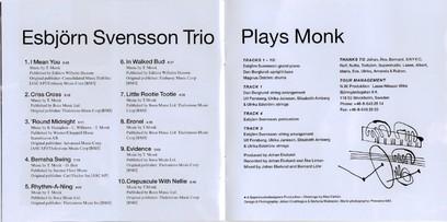 VINIL ACT Esbjorn Svensson Trio: Plays Monk