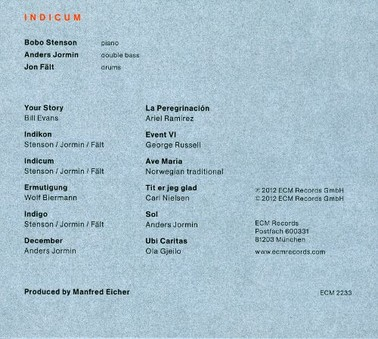 CD ECM Records Bobo Stenson Trio: Indicum