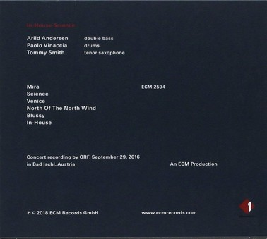 CD ECM Records Arild Andersen, Paolo Vinaccia, Tommy Smith: In-House Science