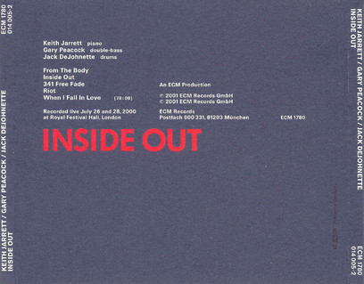 CD ECM Records Keith Jarrett Trio: Inside Out