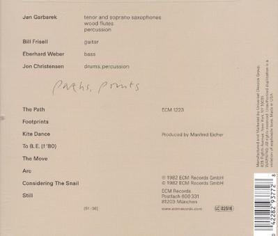 CD ECM Records Jan Garbarek: Paths, Prints