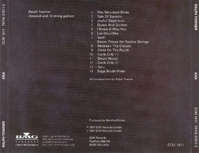 CD ECM Records Ralph Towner: ANA
