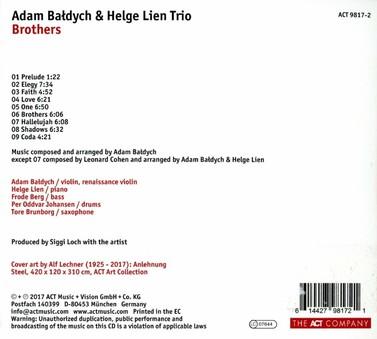 CD ACT Adam Baldych & Helge Lien Trio: Brothers