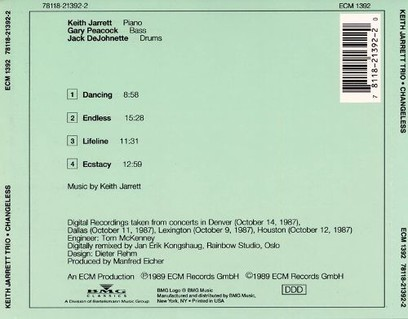 CD ECM Records Keith Jarrett, Gary Peacock, Jack DeJohnette: Changeless