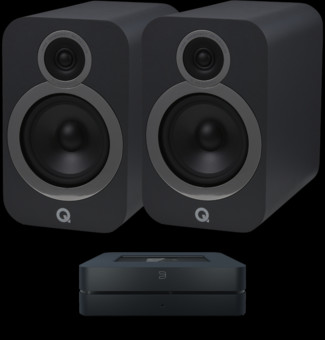 Pachet PROMO Q Acoustics 3030i + Bluesound Powernode 2i v2