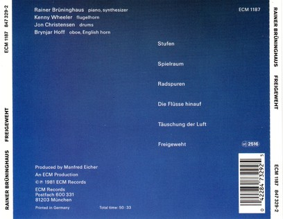 CD ECM Records Rainer Bruninghaus: Freigeweht