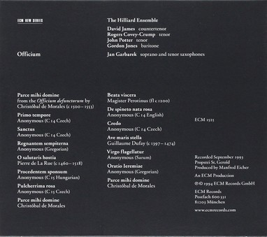 VINIL ECM Records Jan Garbarek / Hilliard Ensemble: Officium