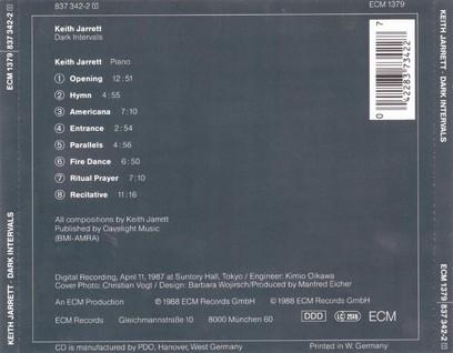 CD ECM Records Keith Jarrett: Dark Intervals