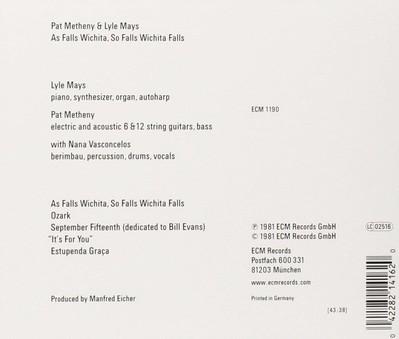 CD ECM Records Pat Metheny & Lyle Mays: As Falls Wichita, So Falls Wichita Falls