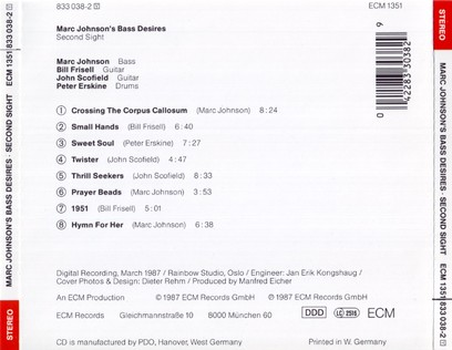 CD ECM Records Marc Johnson's Bass Desires: Second Sight