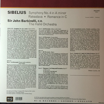 VINIL Universal Records Sibelius - Symphony No. 4 In A Minor / Rastakava / Romance In C (Barbirolli, Halle Orchestra)