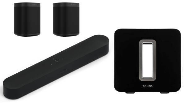 Boxe Amplificate Sonos Beam + 2 x Sonos One SL + Sonos SubSonos Beam + 2 x Sonos One SL + Sonos Sub