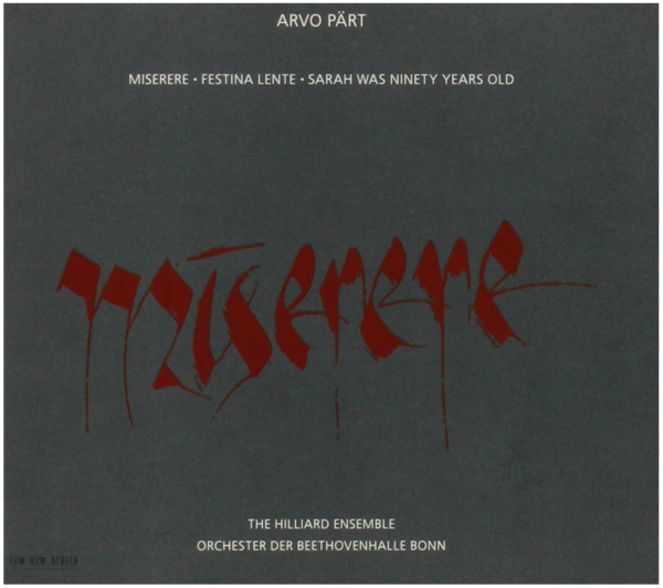 Muzica CD CD ECM Records Arvo Part: MiserereCD ECM Records Arvo Part: Miserere