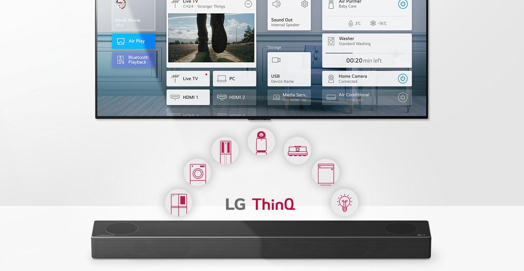 Televizorul este amplasat pe perete. Soundbar-ul LG este plasat sub televizor. Logo-ul LG ThinQ și pictogramele aparatelor electrocasnice sunt afișate între televizor și soundbar-ul LG.