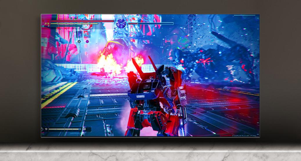 Ecran TV care prezintă o scenă dintr-un joc de lupte.