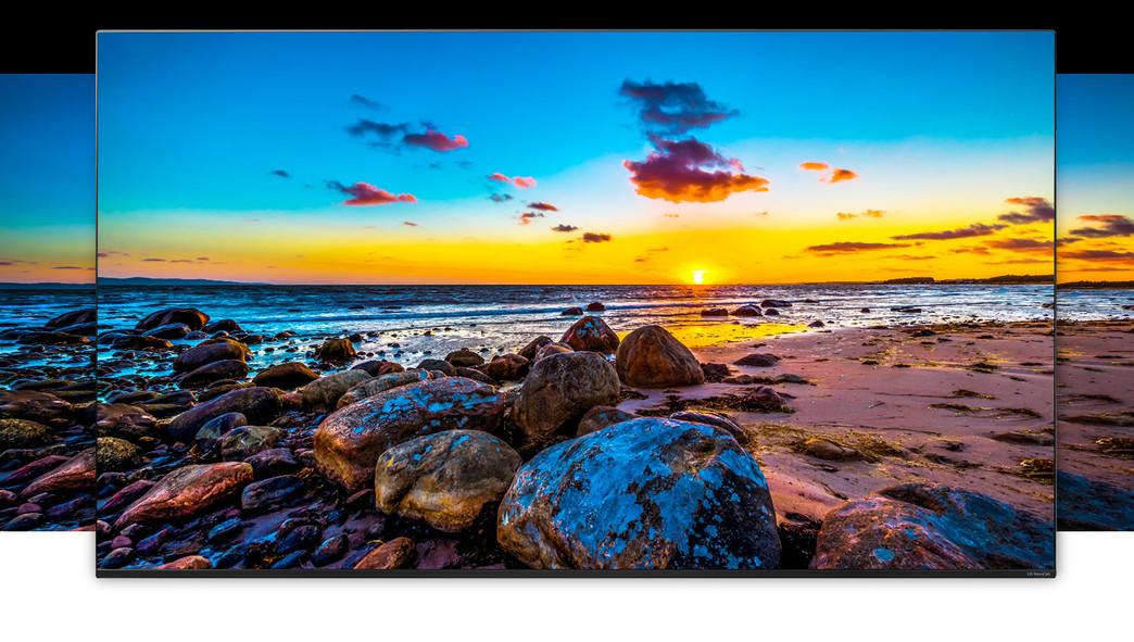 Ecran TV care prezintă o imagine panoramică a naturii