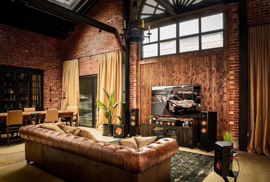 Klipsch speaker system with tv in living room
