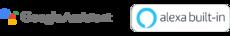 Google Assistant and Amazon Alexa badges