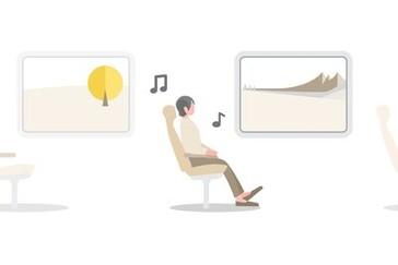 Ilustrație cu o persoană ascultând muzică călătorind