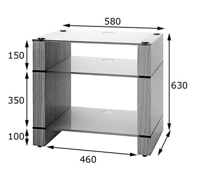 STAX 300 LP Walnut Three Shelf HiFi Stand with 12