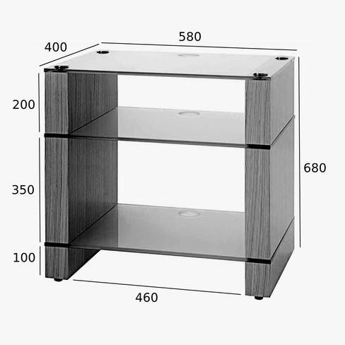 STAX XLP Three Shelf Vinyl Storage HiFi Stand Dimensions Drawing