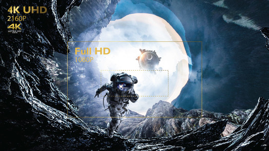 Four times the resolution of Full HD 1080p, 4K UHD reduces pixel blur for awe-inspiring clarity and crisply defined fine details