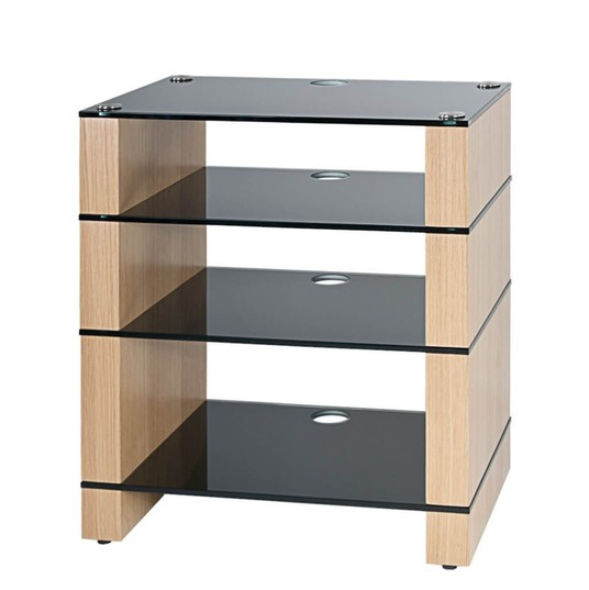 Hifi Stand, Oak, Four Shelf, Black Glass, STAX 400, BLOK