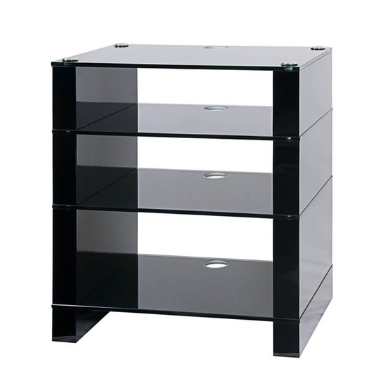 Hifi Stand, Black Gloss, Four Shelf, Black Glass, STAX 400, BLOK