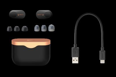 Fotografie de produs cu căștile WF-1000XM3 și carcasa de încărcare, cablul USB-C și gama de elemente intraauriculare.