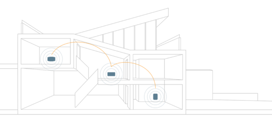 Diagram of streaming music via WiFi to other rooms